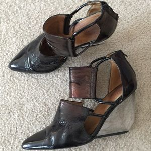 Jeffrey Campbell Devandra Leather Wedge Booties 11